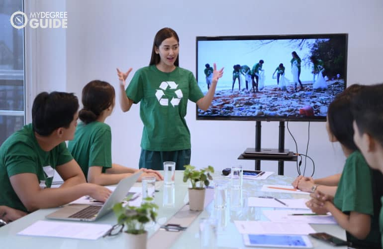 employees of non-profit organizations having a meeting in an office