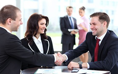 happy shake hands of mba degree students