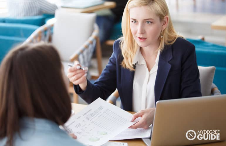 female accountant talking to a client