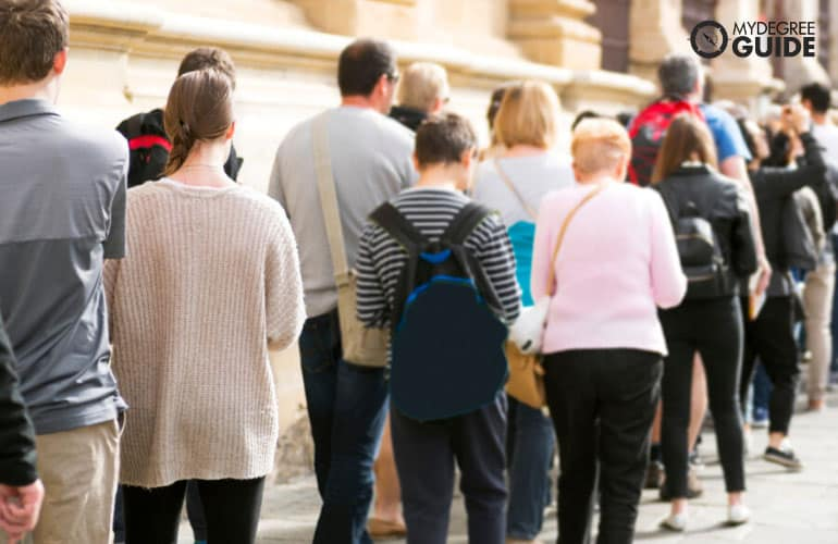 people in long queue