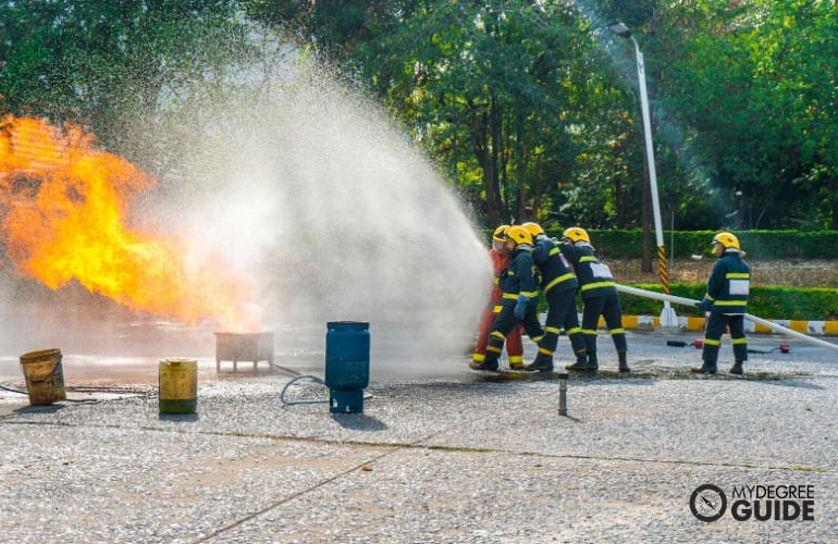firefighters training to extinguish the fire