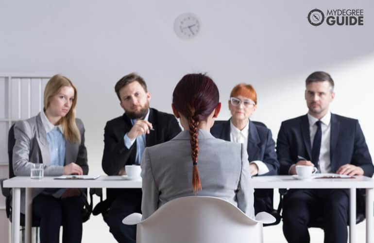 woman sitting at a job interview