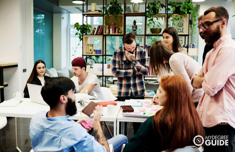 university students having an informal meeting