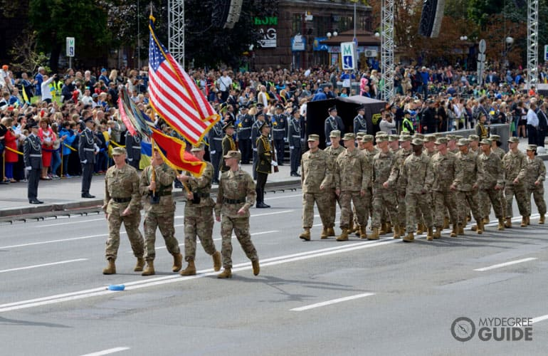 US military officers having a parade