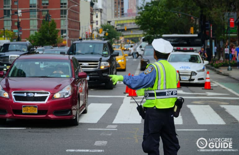 traffic cop directing traffic