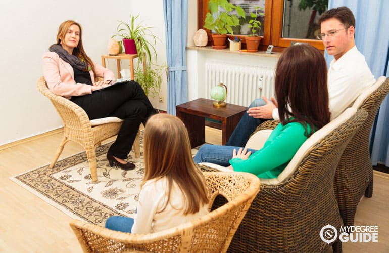 family talking to a counselor in her office