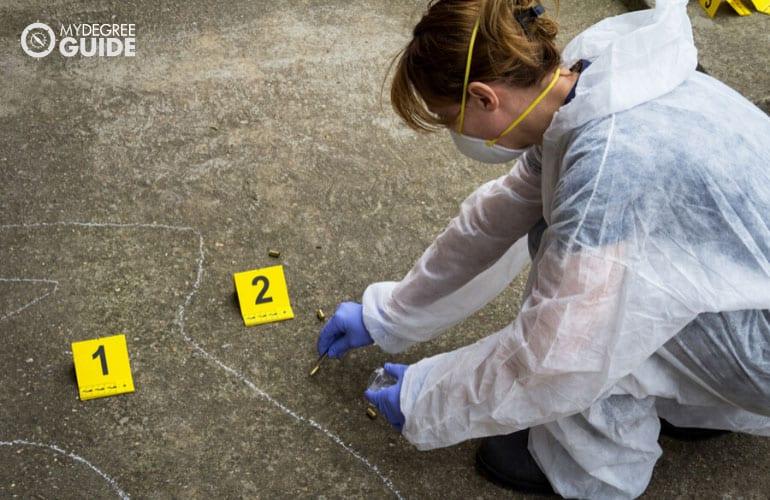 forensic expert investigating a crime scene