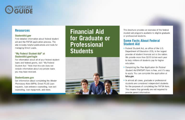 screenshot of federal aid pdf for graduate students