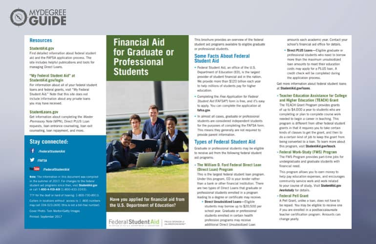 a screenshot of student financial aid pdf