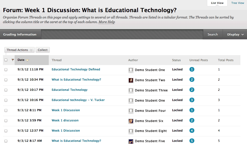 Blackboard discussion board screenshot