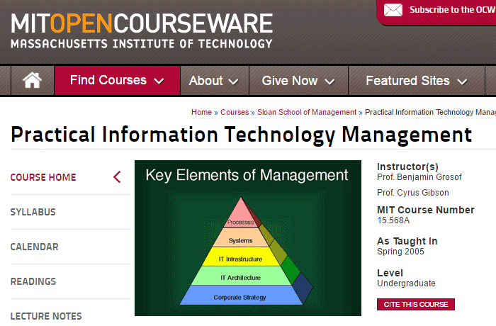 MIT Practical Technology management open course