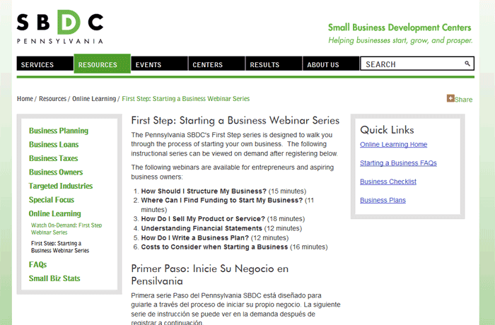 PA SBDC Starting a business webinar course