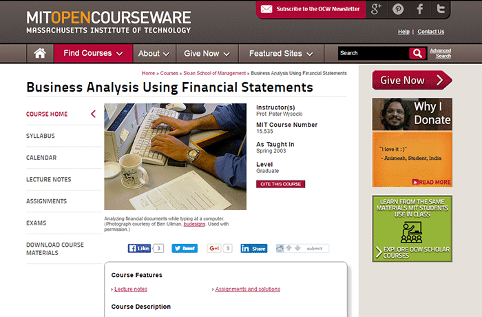 Massachusetts Institute of Technology - Business Analysis Using Financial Statements