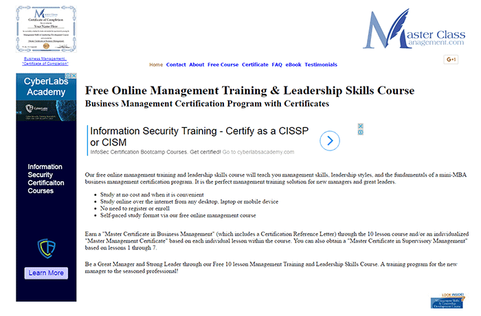 MasterClassManagement.com - Business Management Certification Program