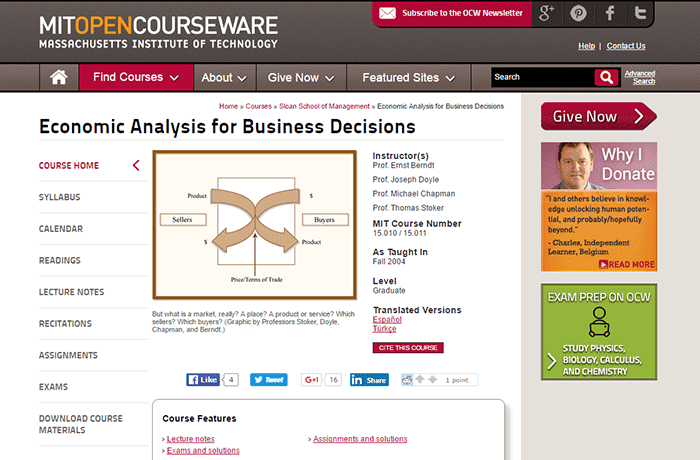 Massachusetts Institute of Technology - Economic Analysis for Business Decisions