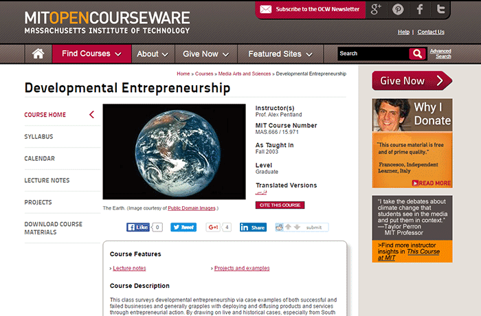 Massachusetts Institute of Technology - Developmental Entrepreneurship