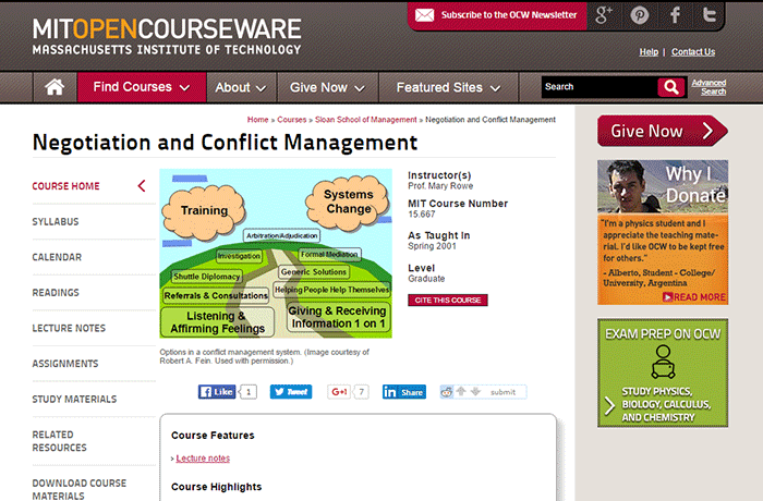Massachusetts Institute of Technology - Negotiation and Conflict Management
