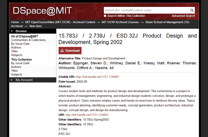 DSpace@MIT - Product Design and Development