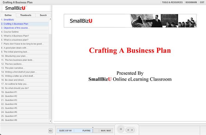 SmallBizU Crafting a Business Plan