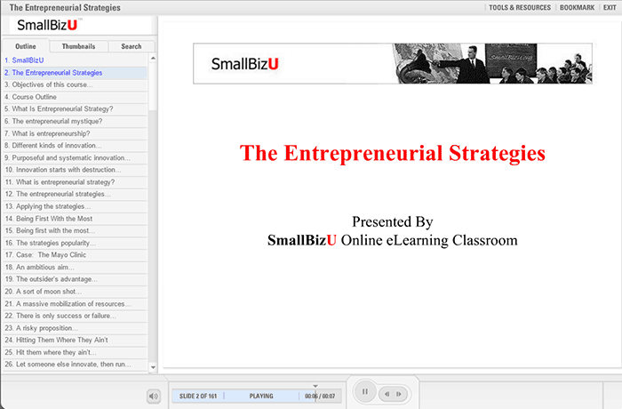 SmallBizU - The Entrepreneurial Strategies