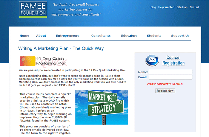 FAMEE Writing a Marketing Plan – the Quick Way