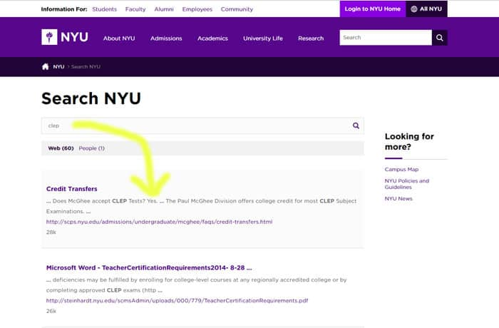 NYU clep exam screenshot
