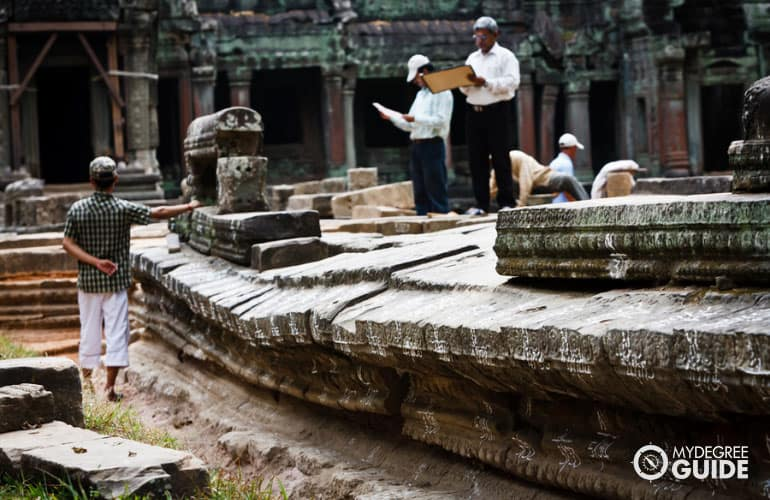 anthropologists preserving and restoring temples