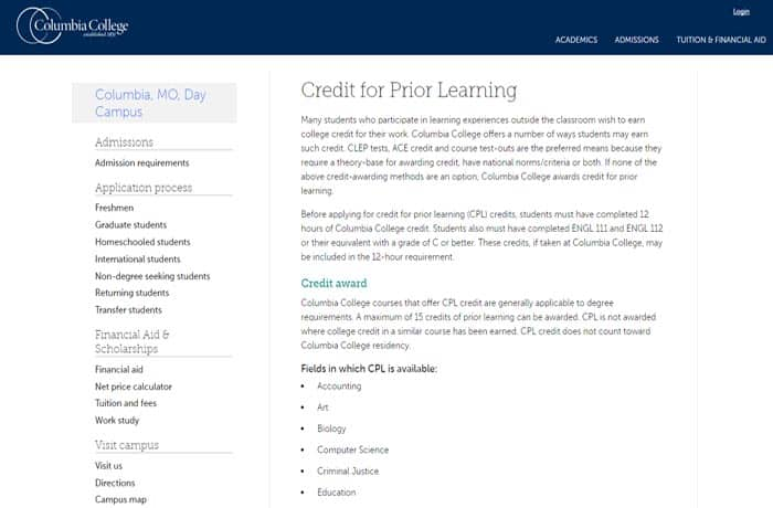 Columbia College Credit for Prior Learning