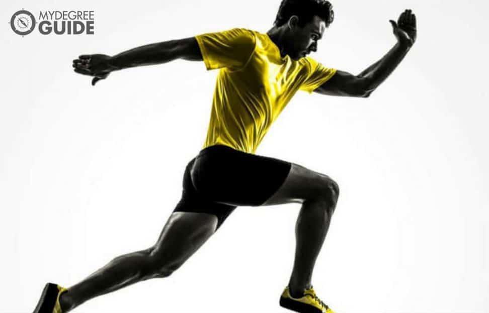 Student running to finish line
