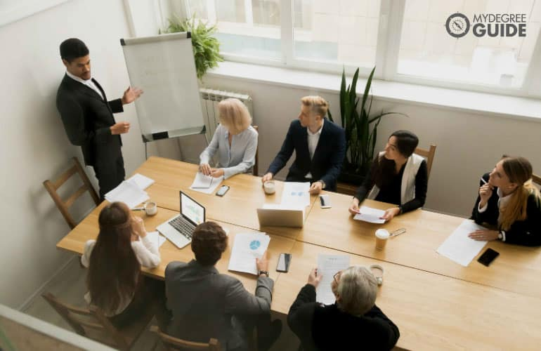 team leader discussing during a meeting