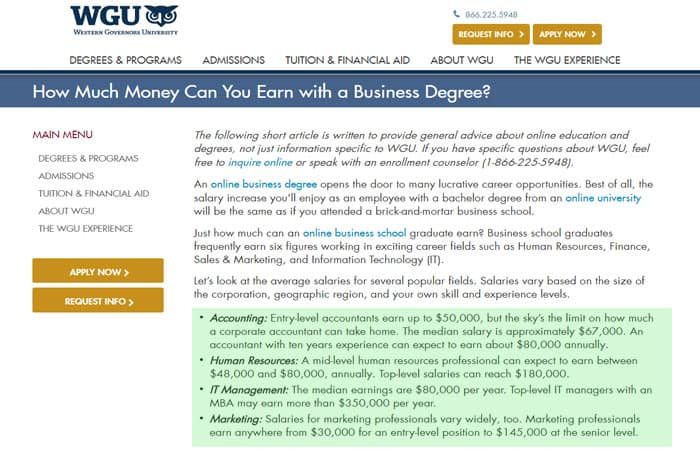 Accelerated business degree salaries
