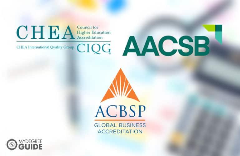 logos of three accreditation boards