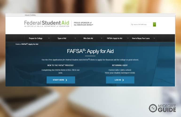 FAFSA site screenshot