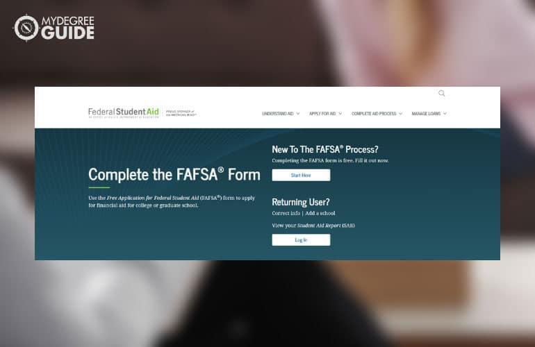 screenshot of FAFSA website