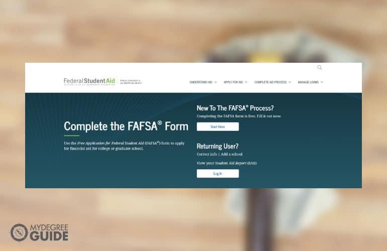 screenshot of FAFSA websiite