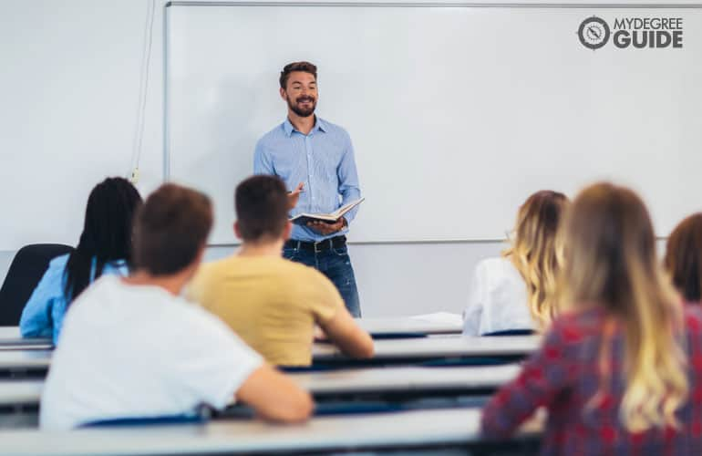 college professor teaching in a university