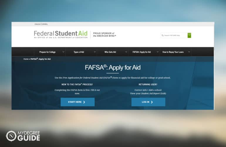 a screenshot of the FAFSA website