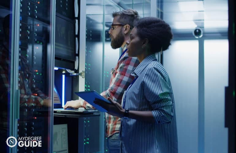 IT professionals working in data center