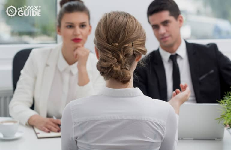 people in admissions interview