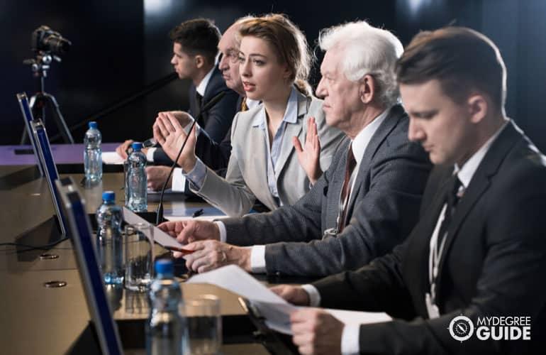 politicians in a press conference