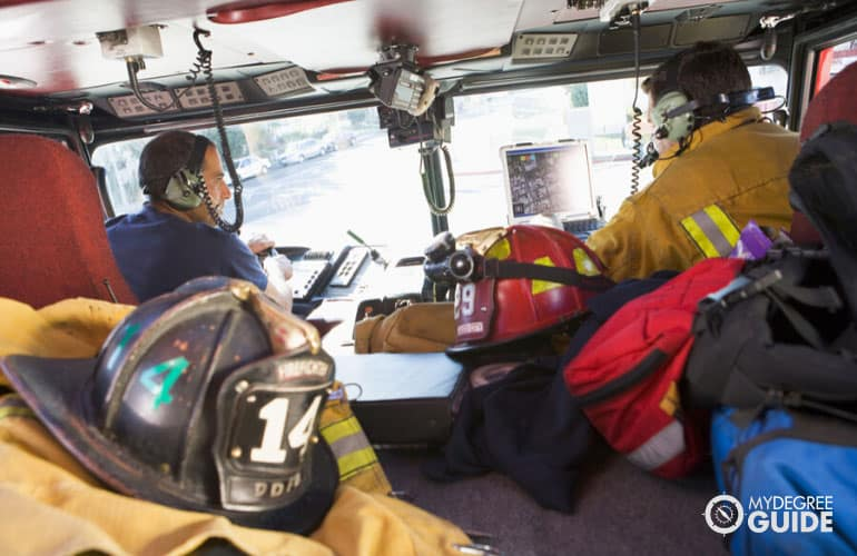 firefighters responding to an emergency