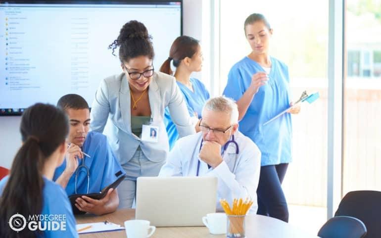 Healthcare administrators talking