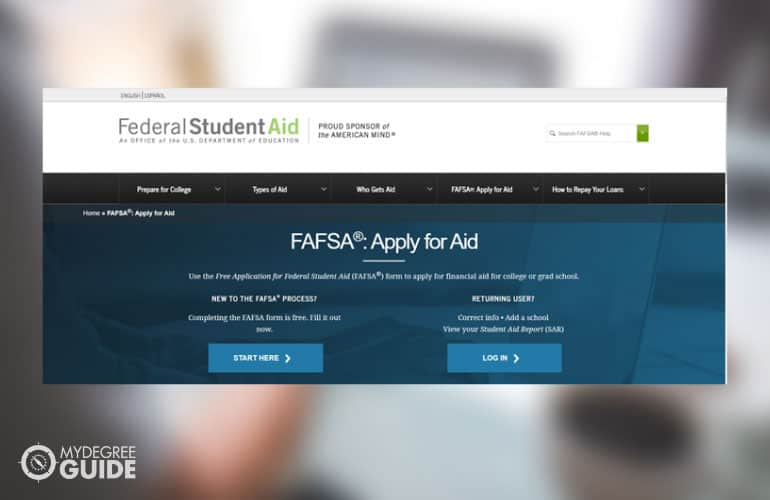 a screenshot of student aid website