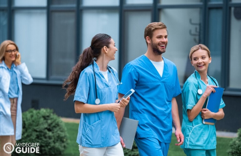 master's of public health students walking in university