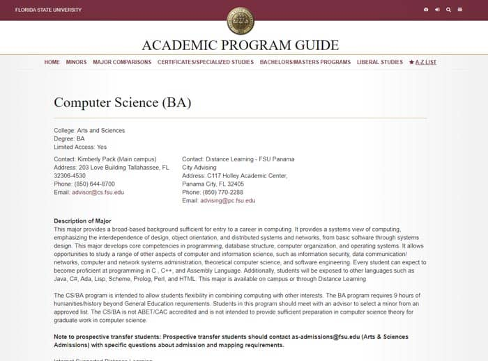 BA in Computer Science curriculum