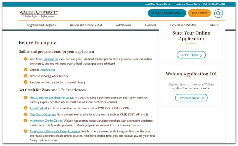 Walden University admissions edd screenshot