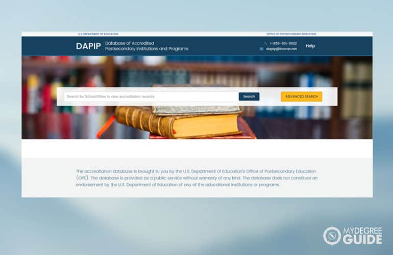 a screenshot of the DAPIP database page