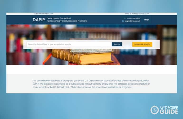 screenshot of DAPIP website