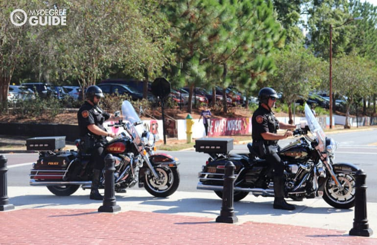 campus police patrolling a school