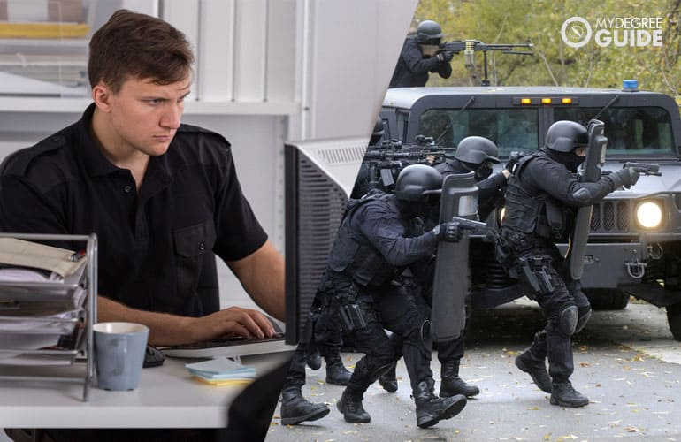 police officer researching and during an operation